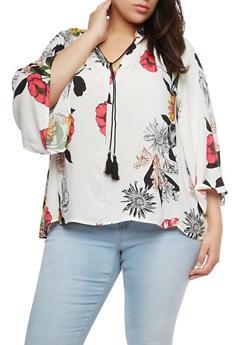 Plus Size Floral Tassel Tie Top - 1812056122553
