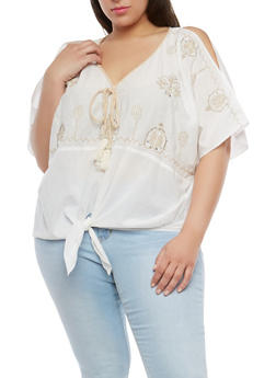 Plus Size Embroidered Cold Shoulder Top - 1812056122926