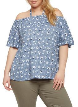Plus Size Off the Shoulder Halter Floral Denim Top - 1812058602000