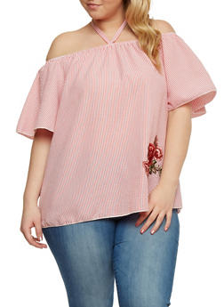 Plus Size Pinstriped Off the Shoulder Top with Flower Patch - 1812058602095