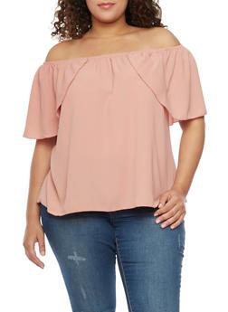 Plus Size Off the Shoulder Flutter Sleeve Top - 1812058605336