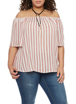 Plus Size Off the Shoulder Striped Top with Choker Tie Necklace - 1812058605379