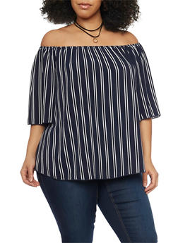 Plus Size Off the Shoulder Striped Top with Layered Choker Necklace - 1812058605457