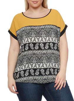 Plus Size Short Sleeve Paisley Top with Solid Crepe Yolk - 1812058751702