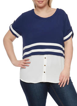 Plus Size High Low Blouse with Striped Overlay - 1812058757021