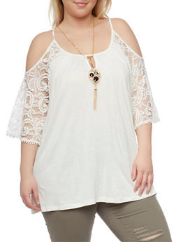 Plus Size Cold Shoulder Tunic Top with Crochet Sleeves and Necklace - 1812058757977