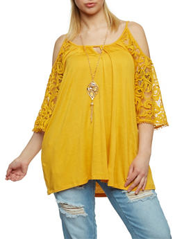 Plus Size Cold Shoulder Tunic Top with Crochet Sleeves and Necklace - MUSTARD - 1812058757977