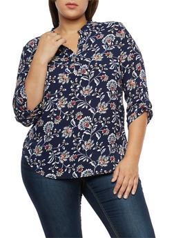 Plus Size Floral Print Button Front Top - 1812061354847