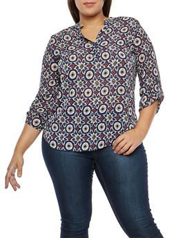 Plus Size Printed Blouse - 1812061354895