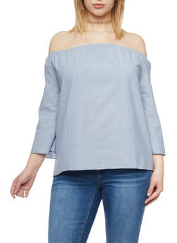 Plus Size Off the Shoulder Chambray Top - 1812063404551