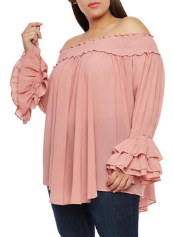Plus Size Off the Shoulder Tier Sleeve Top - 1812074280484