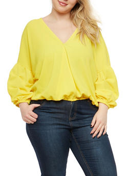 Plus Size Ruched Sleeve Caged Back Top - 1812074281708
