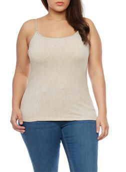 Plus Size Basic Cami Top - OATMEAL - 1813054260630