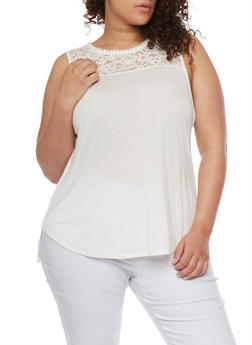 Plus Size Sleeveless Lace Yoke Top - IVORY - 1813054266810