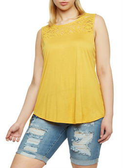 Plus Size Sleeveless Lace Yoke Top - MUSTARD - 1813054266810