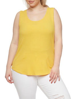 Plus Size Rib Knit Tank Top with Caged Back - MUSTARD - 1813054268807