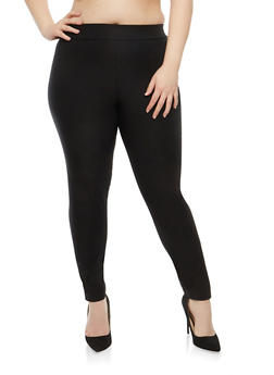Plus Size Black Pull On Stretch Pants - 1816020621877