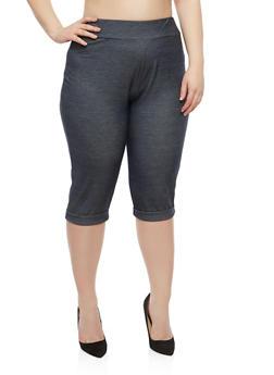 Plus Size Denim Knit Capris - 1816020625323