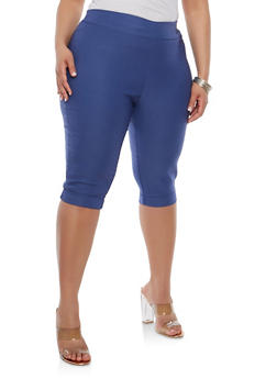 Plus Size Fixed Cuff Capris - 1816020626323