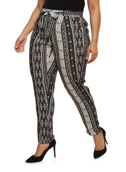 Plus Size Printed Pants with Sash Belt - 1816051063276