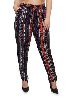 Plus Size Printed Pants with Sash Belt - NAVY/SALMON - 1816051063276