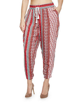 Plus Size Mixed Print Joggers - 1816051063481