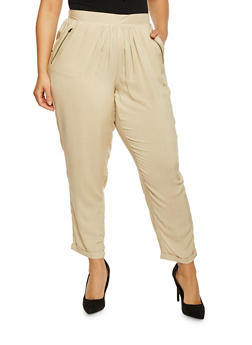 Plus Size Zip Trim Pocket Cuffed Pants - 1816051063482