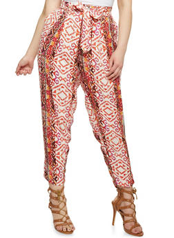 Plus Size Printed Palazzo Pants with Tie Waist - 1816051069342