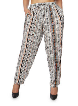 Plus Size Printed Palazzo Pants with Drawstring Waist - BLK/RUST - 1816051069343