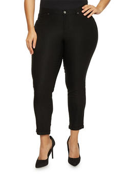 Plus Size Black Cuffed Stretch Pants - 1816056570015