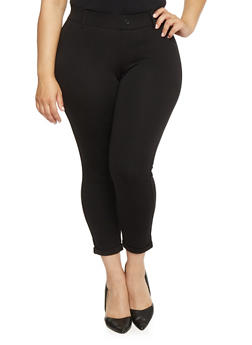 Plus Size Cuffed Ponte Dress Pants - 1816056570251
