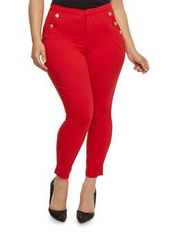 Plus Size Stretch Sailor Pants with Back Faux Slit Pockets - 1816056570400