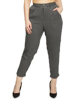 Plus Size Cuffed Pinstripe Pants - BLACK/WHITE - 1816056571006