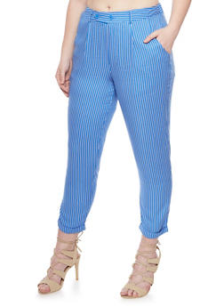 Plus Size Cuffed Pinstripe Pants - 1816056571006