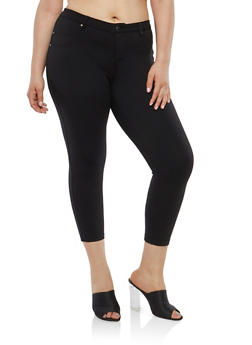 Plus Size Cropped Jeggings - 1816056572123