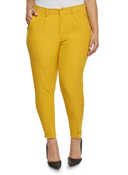 Plus Size Cuffed Pintuck Pleated Dress Pants - 1816056574007
