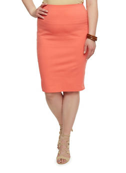Plus Size Solid Ponte Knit Pencil Skirt - 1817020625344