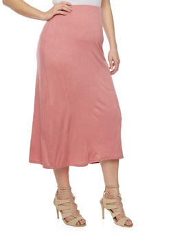 Plus Size Solid Maxi Skirt - 1817020626344