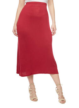 Plus Size Solid Maxi Skirt - BURGUNDY - 1817020626344