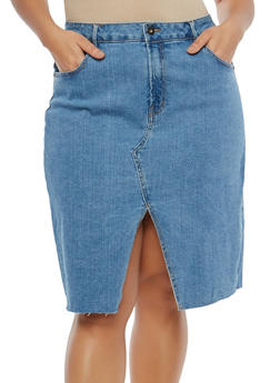 Plus Size Slit Front Denim Skirt - 1817071315011