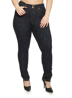Plus Size 2 Button Marled Jeggings - 1818056574019