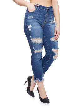 Plus Size Cello Distressed Jeans with Frayed Sharkbite Hem - 1818063155262