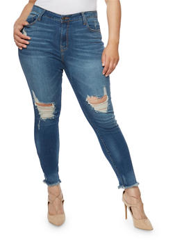 Plus Size Cello Frayed Hem Skinny Jeans - 1818063155282