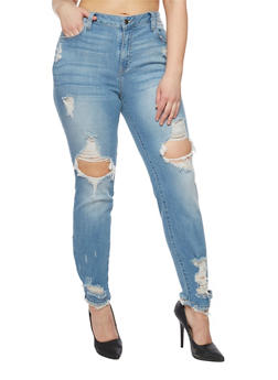Plus Size Cello Ripped Mid Rise Skinny Jeans - 1818063155329