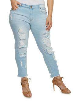 Plus Size VIP Distressed Frayed Hem Jeans - 1818065308448