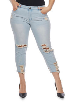 Plus Size VIP Destroyed Cropped Skinny Jeans - 1818065308840