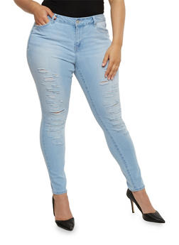 Plus Size WAX Distressed Skinny Jeans - 1818071610071