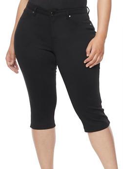 Plus Size Solid Stretch Capri Pants - 1819056570217