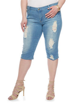 Plus Size VIP Destroyed Capri Jeans - 1819065308859