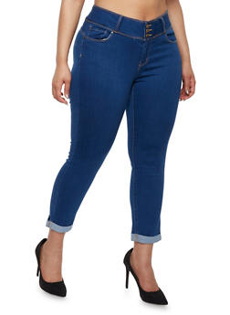 Plus Size WAX Push Up Cuffed Jeans - 1819071610069